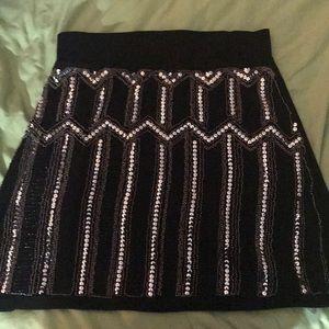 Torrid Black Ponte Sequin Front Mini Skirt